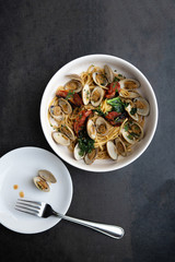 Overhead  shot of a bowl of linguini and clams