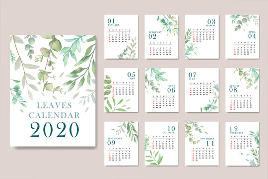 Calendar for 2020 with watercolor leaves