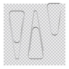 Vector set of silver paper clip on background.
