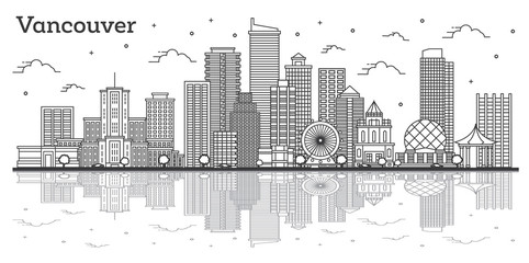 Outline Vancouver Canada City Skyline with Modern Buildings and Reflections Isolated on White.