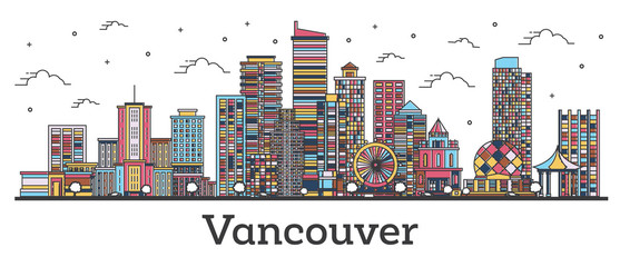 Outline Vancouver Canada City Skyline with Color Buildings Isolated on White.
