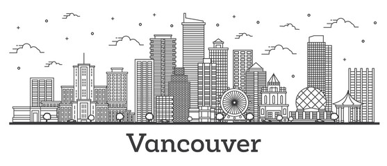 Foto auf AluDibond Weiß Outline Vancouver Canada City Skyline with Modern Buildings Isolated on White.