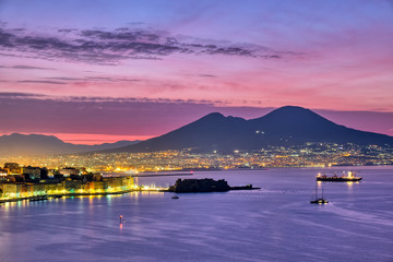Mount Vesuvius and the gulf of Naples before sunrise