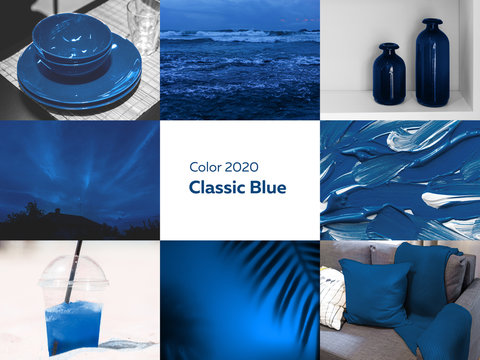 collage of pictures in blue color from photographs of the interior and nature, classic blue, pantone color of the year 2020