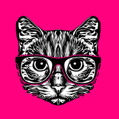 Cat head black and white illustration on pink background, digital art