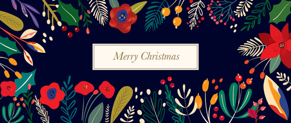 Fotomurales - Christmas vector illustration with decorative floral elements.
