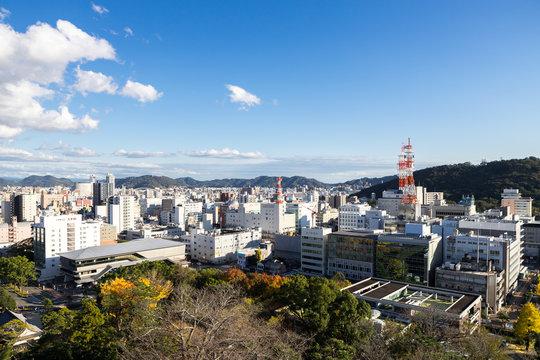 高知城天守閣からの高知市街地眺望