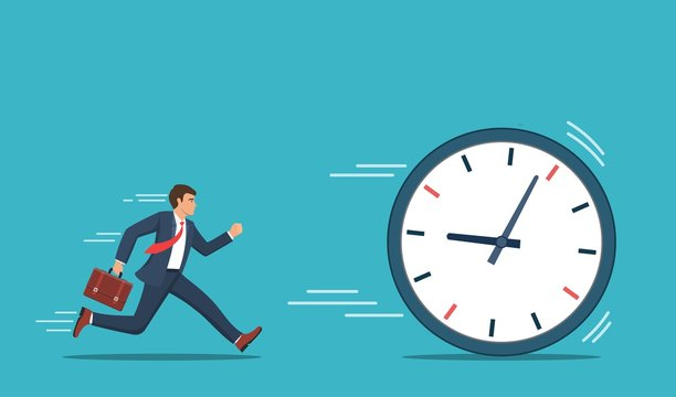 Businessman running chase a rolling time. Business concept. Vector illustration in flat style.