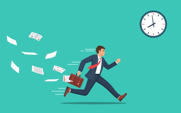 Businessman running and hurry up. businessman running with falling papers from briefcase time management deadline concept