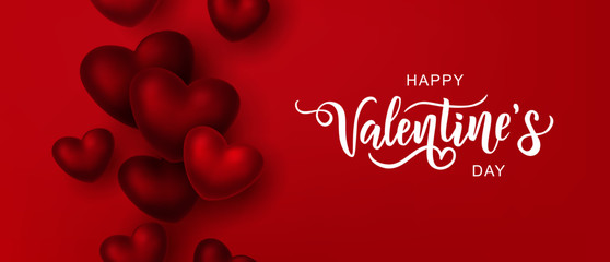 Happy Valentine's day text, hand lettering typography poster on red gradient background. Vector illustration. Romantic quote postcard, card, invitation, banner template.  Fotomurales