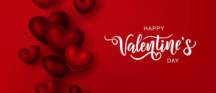 Happy Valentine's day text, hand lettering typography poster on red gradient background. Vector illustration. Romantic quote postcard, card, invitation, banner template.