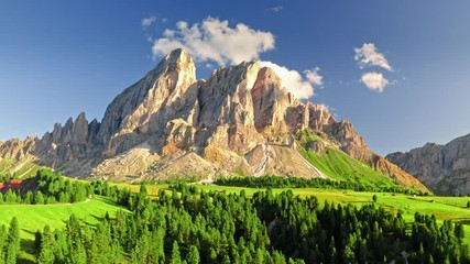 Wall Mural - Passo delle Erbe at sunset in Dolomites, view from above