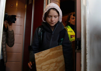 Climate change activist Greta Thunberg arrives in Madrid