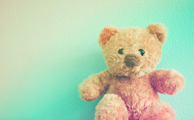 Soft Focus picture Teddy Bear Blue background