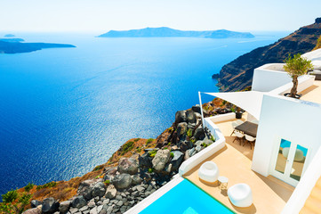 Printed roller blinds Mediterranean Europe White architecture on Santorini island, Greece. Summer holidays, travel destinations concept