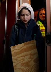 Climate change activist Greta Thunberg arrives in Madrid