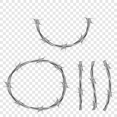 Metal steel barbed wire with thorns or spikes realistic vector illustration isolated on transparent background. Fencing or barrier part, element for danger industrial facilities or prisons