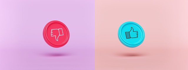 Like and dislike buttons. modern minimal symbols horizontal banner. social media feedback concept. 3d rendering