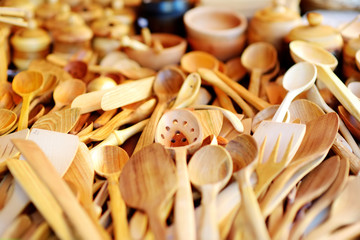 Wooden kitchenware and decorations sold on Easter market in Vilnius,. Lithuania