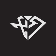 Obraz XR Logo monogram with diamonds shape ribbon designs template isolated on black backgrond - fototapety do salonu