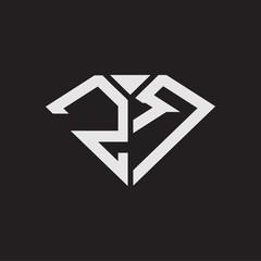 Obraz ZR Logo monogram with diamonds shape ribbon designs template isolated on black backgrond - fototapety do salonu