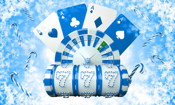 Blue And White Christmas / New Year  Slot Machine, Roulette Wheel - 3D Illustration