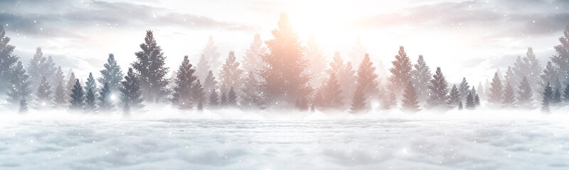 Winter abstract landscape. Sunlight in the winter forest. Panorama of forest landscape in winter....