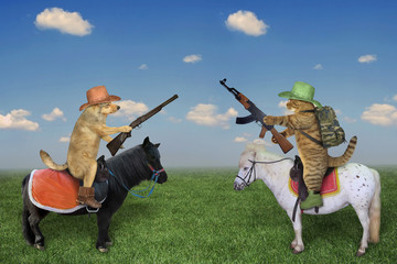 The dog cowboy in a brown hat and boots with a rifle on a black horse  and the cat soldier with a...