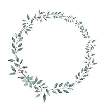 Delicate wreath of eucalyptus branches. Wedding invitation, greeting card. Watercolor.