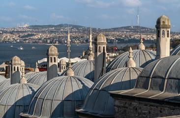 Foto op Canvas Turkije Istanbul domes over Bosphorus