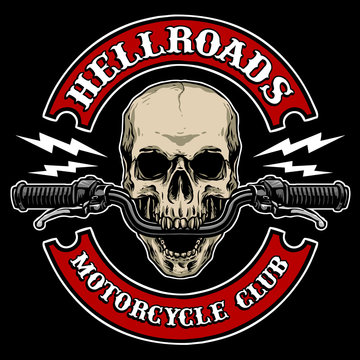vector of skull with motorcycle handle bar, suitable for motorcycle club logo