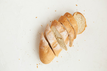 Baguette. Baguette or loaf of wheat flour on a white background.