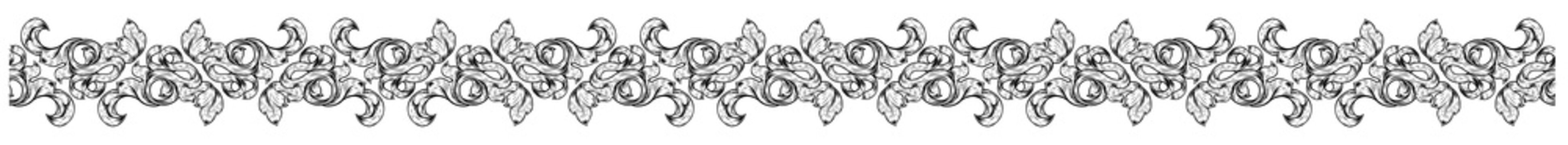 An art nouveau style band border frame floral motif scroll pattern that can be seamlessly tiled. In a vintage style