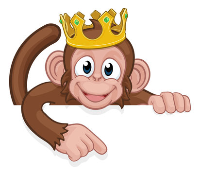 A monkey king cartoon character animal wearing a crown peeking over a sign and pointing at it