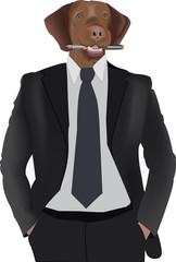 busto di persona con cravatta e testa di cane con penna