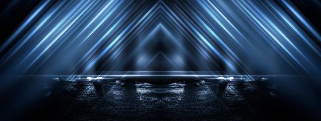 Aluminium Prints Fractal waves Dark street, wet asphalt, reflections of rays in the water. Abstract dark blue background, smoke, smog. Empty dark scene, neon light, spotlights. Concrete floor