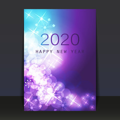 Ice Cold Blue and Purple Pattered Shimmering New Year Card, Flyer or Cover Design - 2020