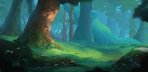 Summer Forest Background for Animation. Scene Design Illustration. Game Concept Art