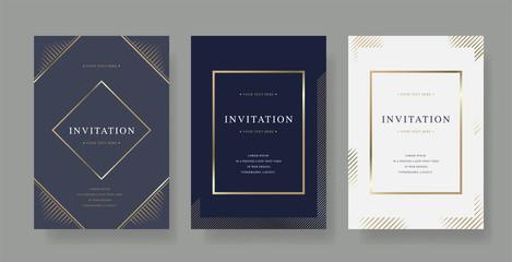 Vintage luxury invitation card  with golden frame design vector set