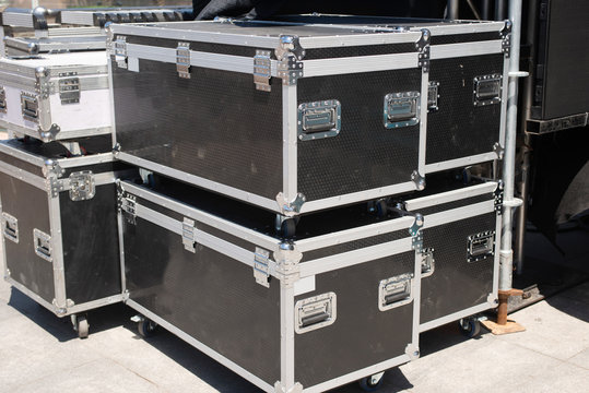 Lighting equipment box behind the stage.