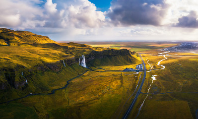 Wall Mural - Aerial view of Seljalandsfoss Waterfall in Iceland at sunset