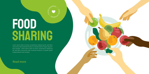 Food sharing illustration. Layout of share meal, waste reduction, help restaurant or cafe sell unused product. People take food from a plate. Design for charity, volunteer organization. Flyer template