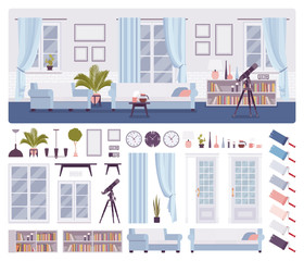 Living room classical interior, home, office, workspace creation set, comfort kit with furniture, constructor elements to build own design. Cartoon flat style infographic illustration, color palette