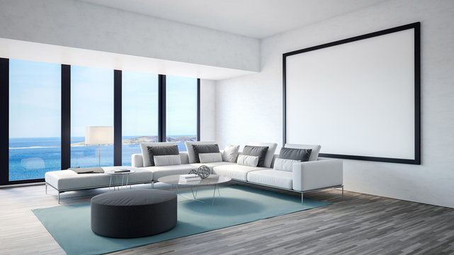 Luxury living room interior with seascape view. 3d Rendering