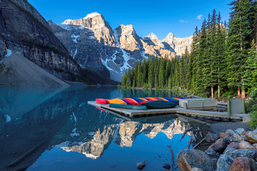 Beautiful sunrise at the Moraine lake in Canadian Rockies, Banff National Park, Canada