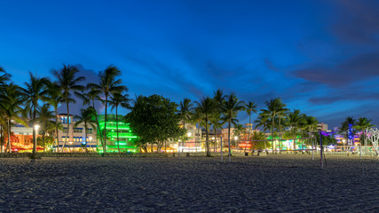 Miami Beach at night, Florida - hotels and restaurants at sunset in Ocean Drive
