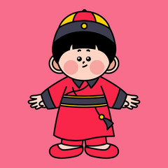 Cute Chinese Child Wearing Traditional Costume