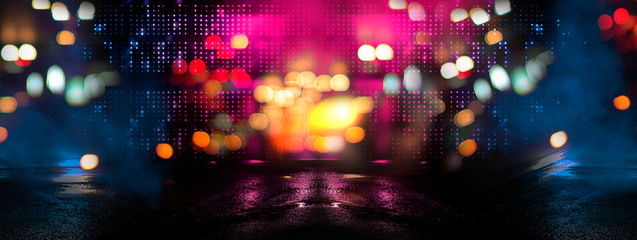 Fotomurales - Dark street reflection on the wet pavement. Empty background scene. Rays neon light in the dark, neon figures, smoke. Night view of the street, the city. Abstract dark background. Abstract spotlight.