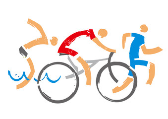 Swimmer, cyclist, runner. Three triathlon expressive stylized athletes. Isolated on white background. Vector available.