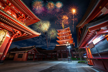 Firework over Sensoji temple at night in Asakusa, Tokyo, Japan.